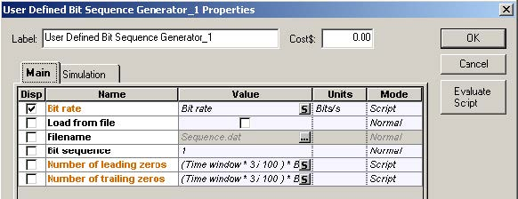 Optical System - Figure 2 - Bit sequence generator parameters