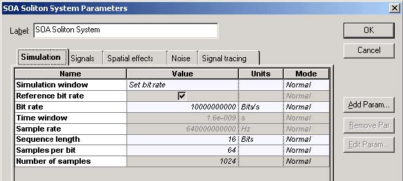 Optical System - Figure 2 Simulation parameters for transmission at 10 Gbs