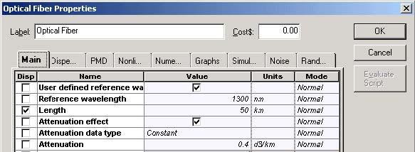 Optical System - Figure 4 Nonlinear Dispersive Fiber Main parameters