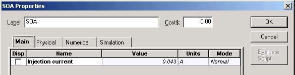 Optical System - Figure 7 SOA Main parameters