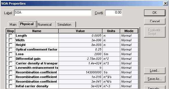 Optical System - Figure 8 SOA Physical parameters
