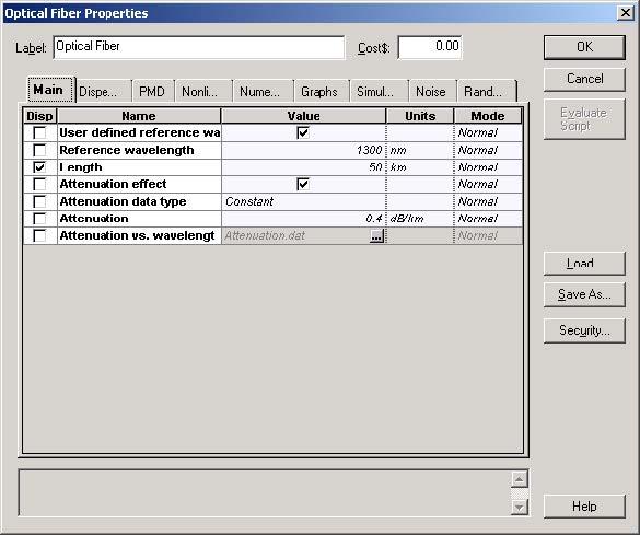 Optical System Fixing Nonlinear Dispersive Fiber Main parameters