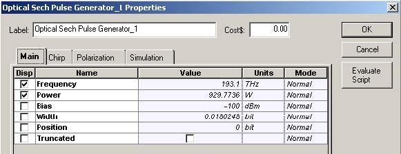 Optical System - Figure 3 - Sech-pulse generator parameters