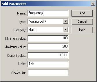 Optical System - Figure 11 -  Add Parameter dialog