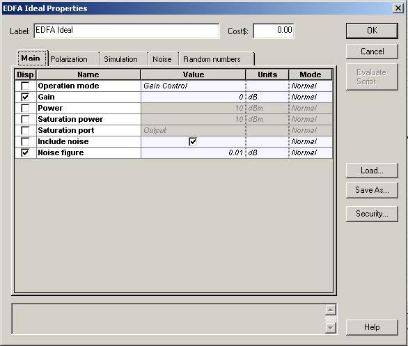 Optical System - Figure 3 - EDFA parameters