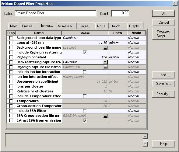 Optical System - Figure 2 -  Erbium-doped fiber characteristics (a) Main tab and (b) Enhancement tab