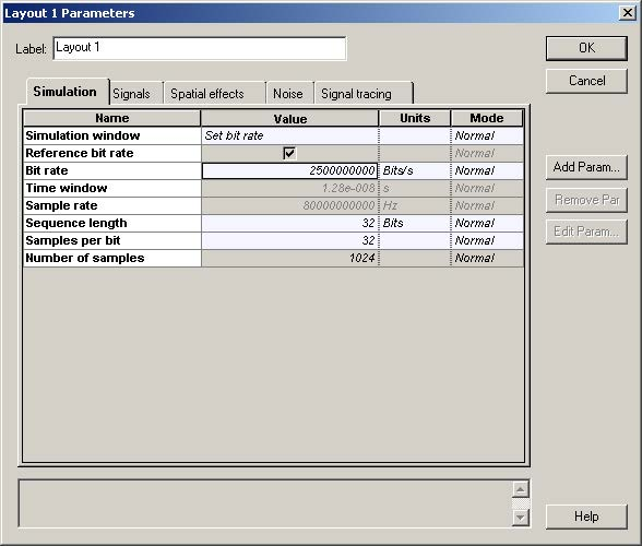 Optical System - Figure 2 -  Global parameters Simulation parameters tab