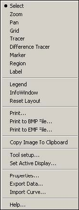 Optical System - Figure 33 -  Graph menu dialog