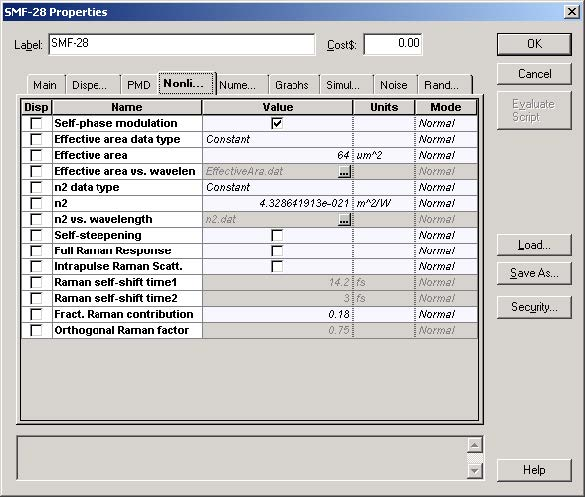Optical System - Figure 5 - SMF-28 fiber properties dialog box—Nonlinear tab
