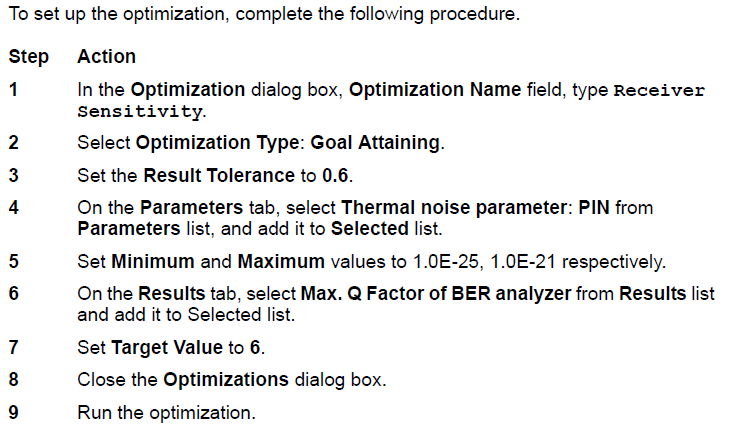 Optical System Setting up optimization
