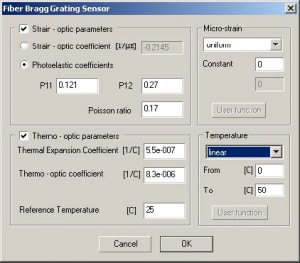 Optical Grating - Grating Definition dialog box,