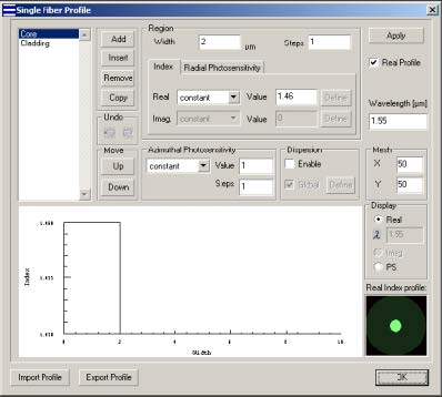 Optical Grating - Single Fiber dialog box