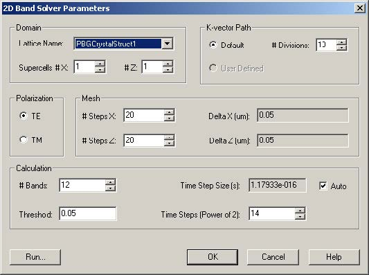 FDTD - Figure 30 2D Band Solver Parameters dialog box