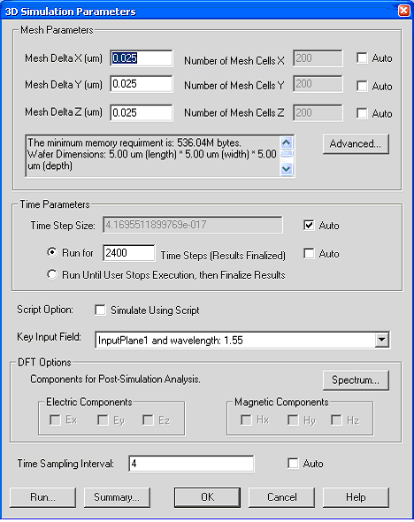 FDTD - Figure 3 3D Simulation parameters dialog box