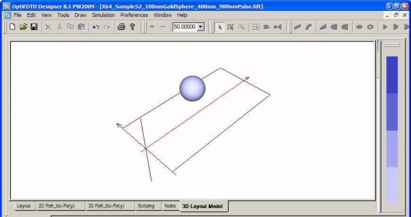 FDTD - Figure 1 3D layout mode for sphere