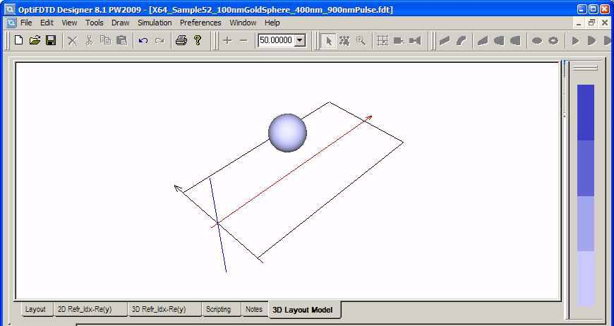 FDTD - Figure 1 3D layout mode for sphere
