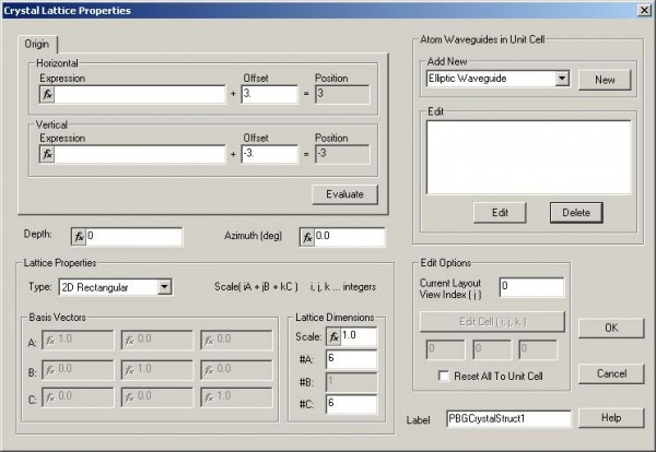 FDTD - Figure 27 Crystal Lattice Properties dialog box