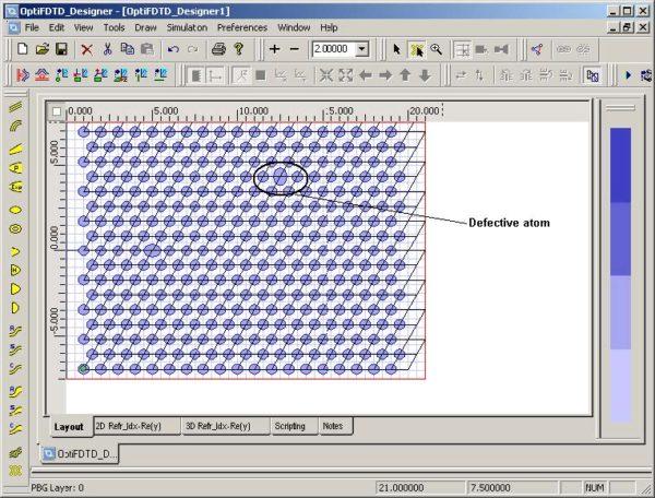 FDTD - Figure 92 Defective atom at Cell 13,0,5