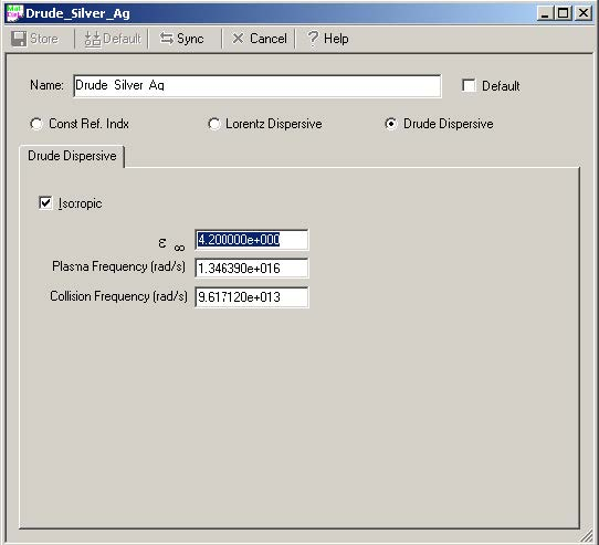 FDTD - Figure 1 Dispersive Material Definition dialog box