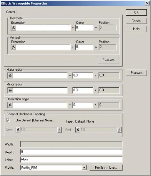 FDTD - Figure 87 Elliptic Waveguide Properties dialog box