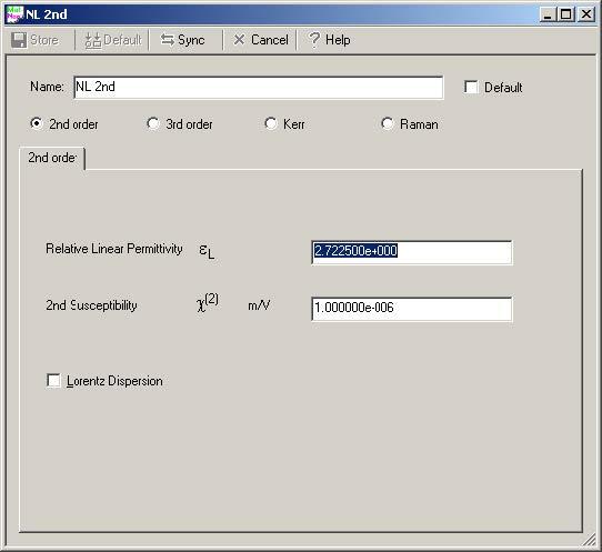 FDTD - Figure 8 FDTDNonlinear1 material definition dialog box