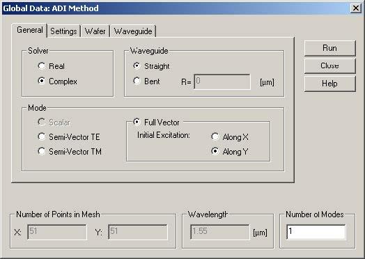 FDTD - Figure 71 Global Data: ADI method dialog box