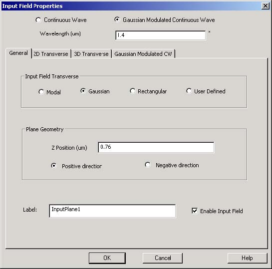 FDTD - Figure 20 Input Field Properties dialog box