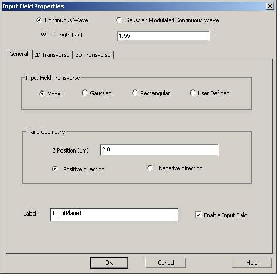 FDTD - Figure 66 Input Field Properties dialog box