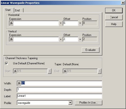 FDTD - Figure 13 Linear Waveguide Properties dialog box