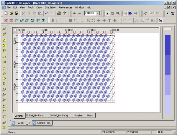 FDTD - Figure 88 PBG structure in layout window