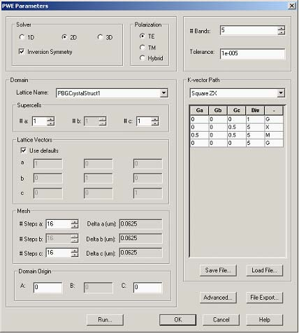 FDTD - Figure 1 PWE Band Solver Parameters Dialog Box