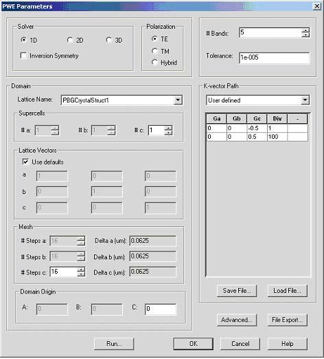 FDTD - Figure 4 PWE parameters dialog box