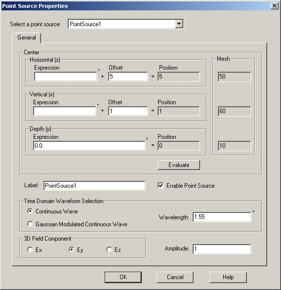 FDTD - Figure 84 Point Source Properties dialog box