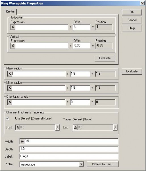 FDTD - Figure 16 Ring Waveguide Properties dialog box 4 Type