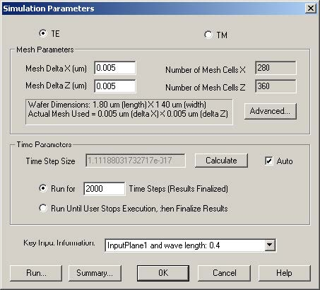 FDTD - Figure 4 Simulation Parameters dialog box