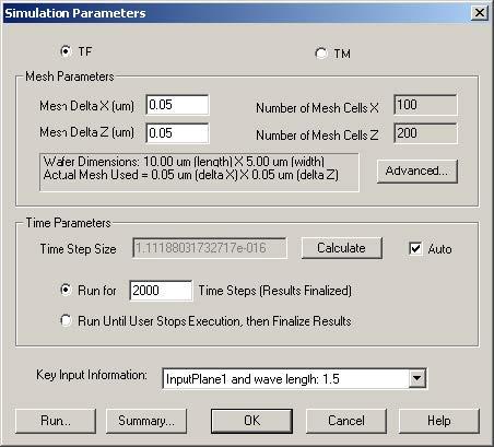 FDTD - Figure 11 Simulation Parameters dialog box