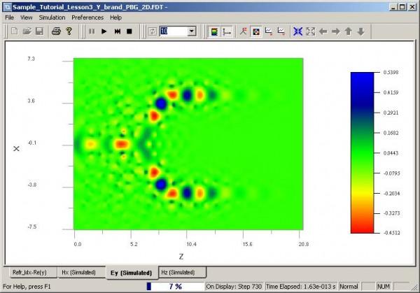 FDTD - Figure 96 Wave propagation in OptiFDTD Simulator