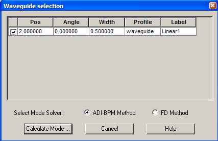 FDTD - Figure 24 Waveguide selection dialog box