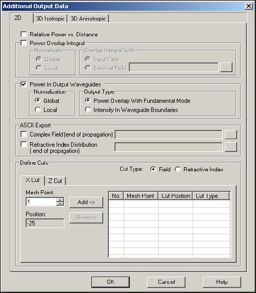 BPM - Figure 17 Additional Output Data dialog box