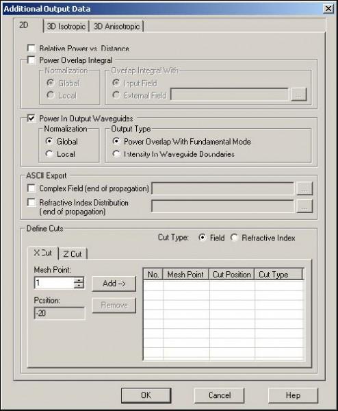 BPM - Figure 25 Additional Output Data dialog box