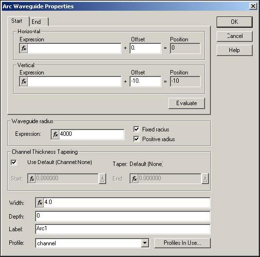 BPM - Figure 5 Arc Waveguide Properties dialog box