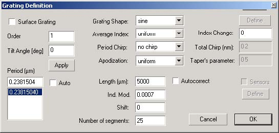 BPM - Grating parameters dialog box