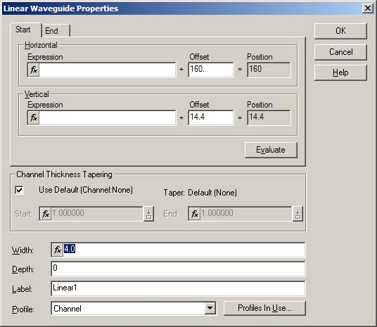 BPM - Figure 6 Linear Waveguide Properties dialog box