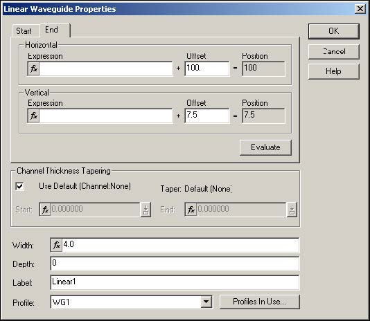 BPM - Figure 7 Linear Waveguide Properties dialog box