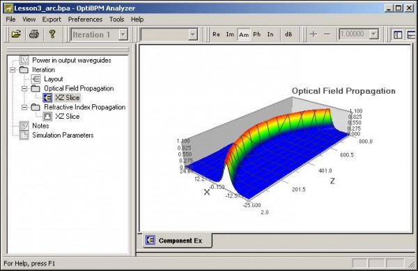 BPM - Figure 27 OptiBPM_Analyzer — Optical Field Propagation
