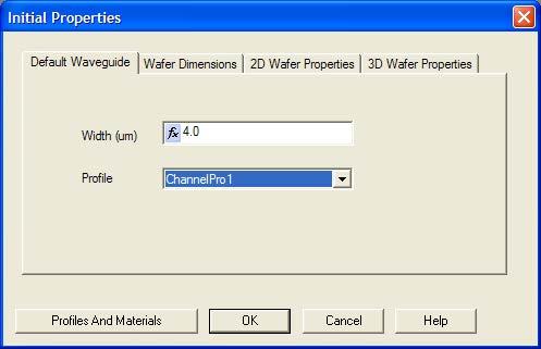 Optical BPM - Initial Properties dialog box—Default Waveguide tab