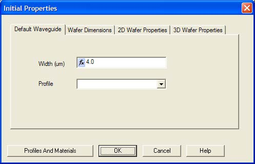 Optical BPM - Initial Properties dialog box