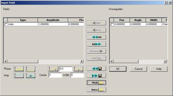 Optical BPM - Item in Waveguides-Fields window