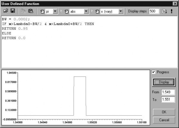 Optical Grating - Dialog box for defining the reflectivity spectrum
