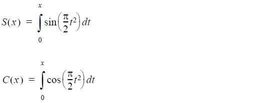 Optical Grating - Fresnel integrals